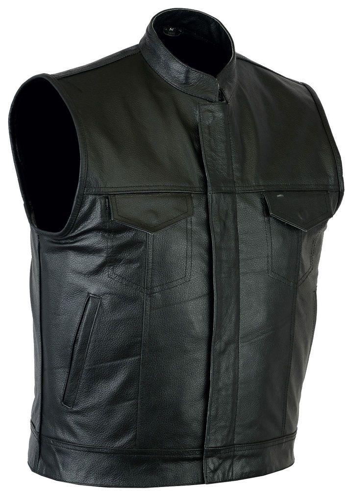 Mens Motorcycle Biker Waistcoat Genuine Black Real Leather Jacket