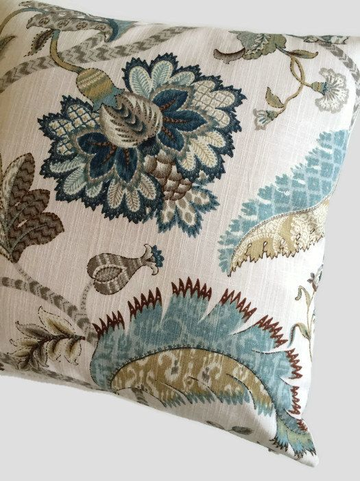 Farmhouse Floral Decorative Pillow Cover Rustic Blue Brown Jacobean