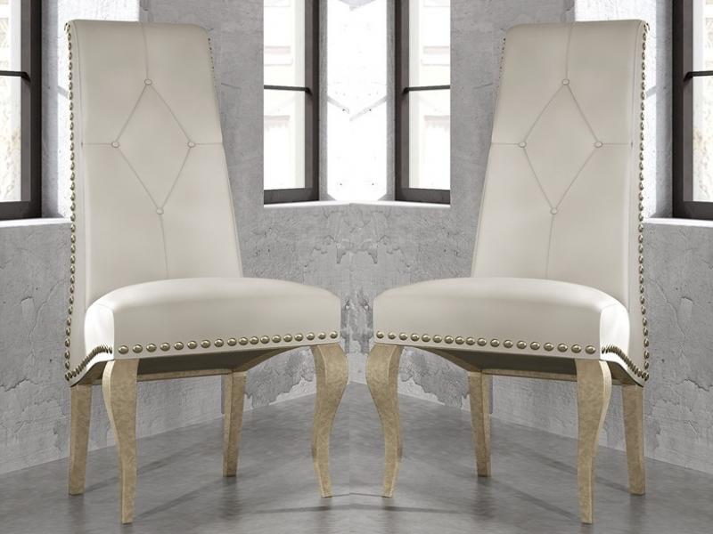 Juego de 2 sillas tapizadas con tachas, mod: GA1201   Sillas