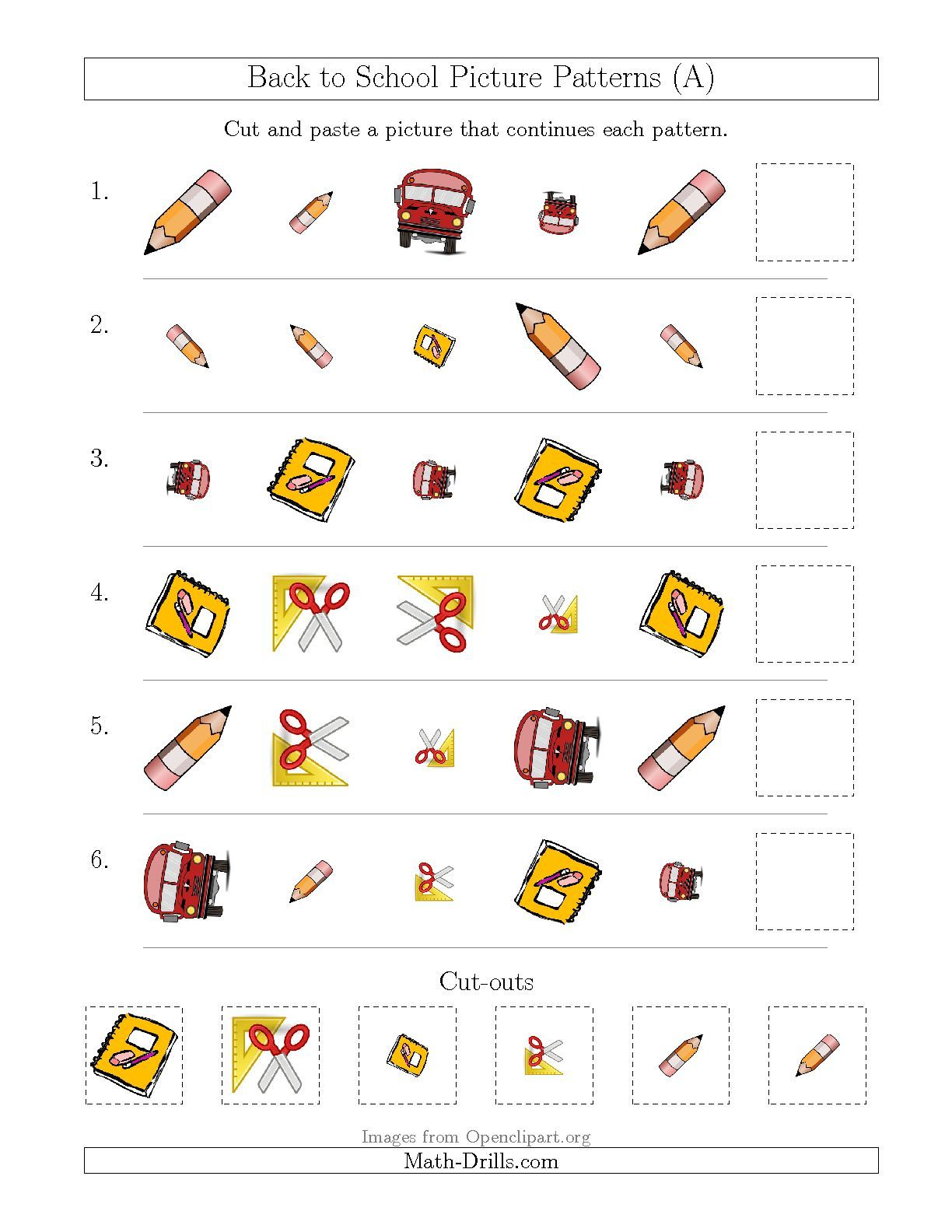 The Back To School Picture Patterns With Shape Size And