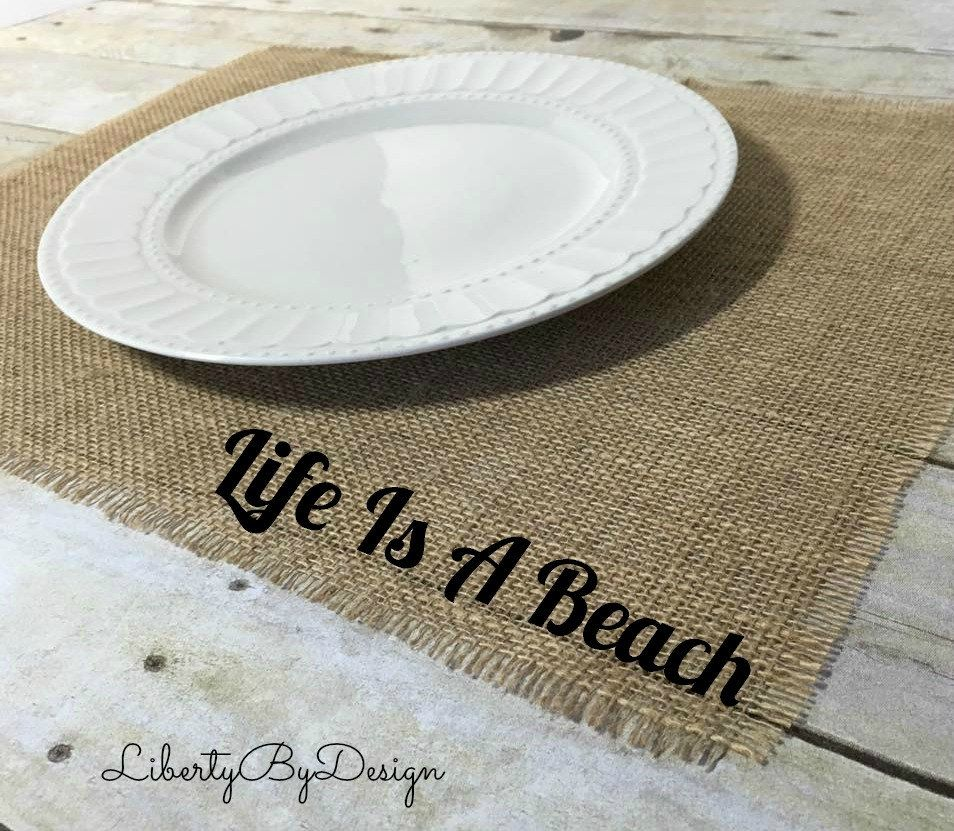 burlap placemats x  set of  life is a beach nautical  - burlap placemats x  set of  life is a beach nautical placemats