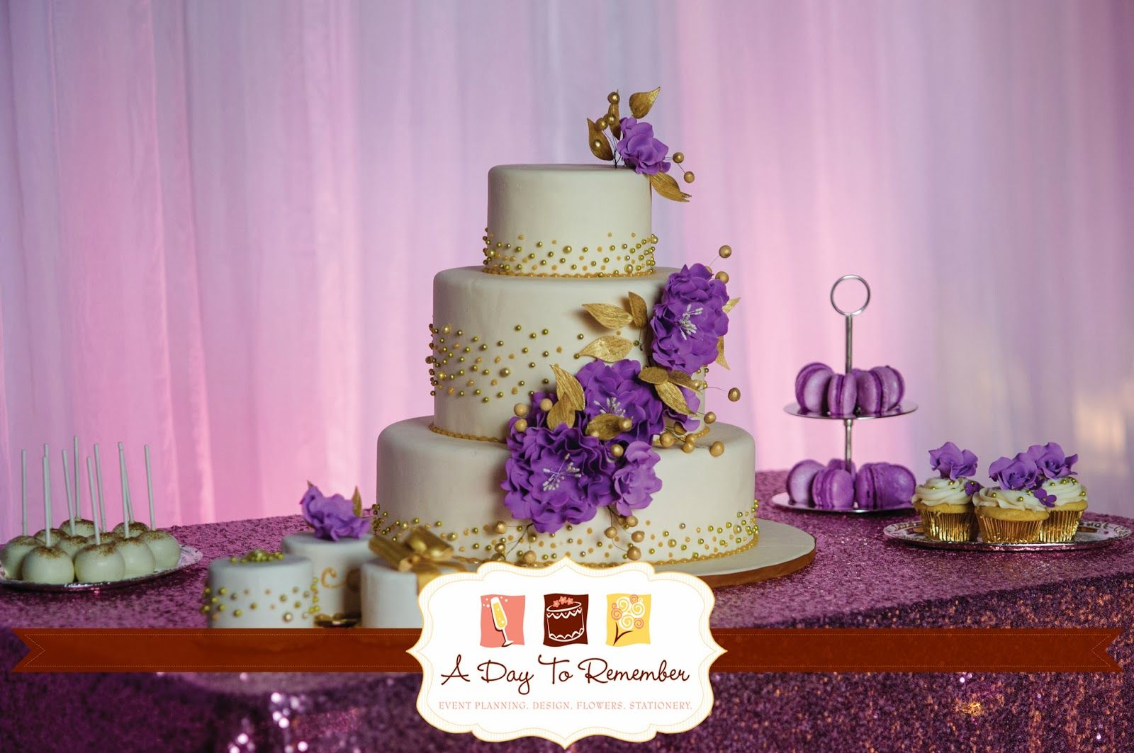 Having a little glitz never hurts! A gorgeous cake, exquisite desserts!  Urban Glitz styled shoot we designed. We drew our inspiration from #Pantone's Color of 2014:  #RadiantOrchid  #DayToRemember #DayToRememberPlanning #DayToRememberDesign #DayToRememberEvents #LuxuryWeddings #StyledShoot #Gold #Glitter #HoustonWeddingPlanner #LuxuryWeddingPlanner www.daytoremember.net Photo Credit: Motley Melange