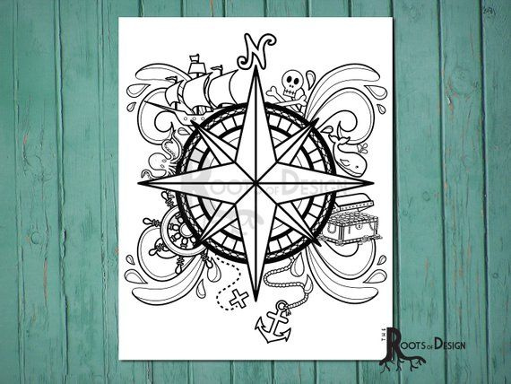 INSTANT DOWNLOAD Coloring Page -Pirate Compass Design, doodle art