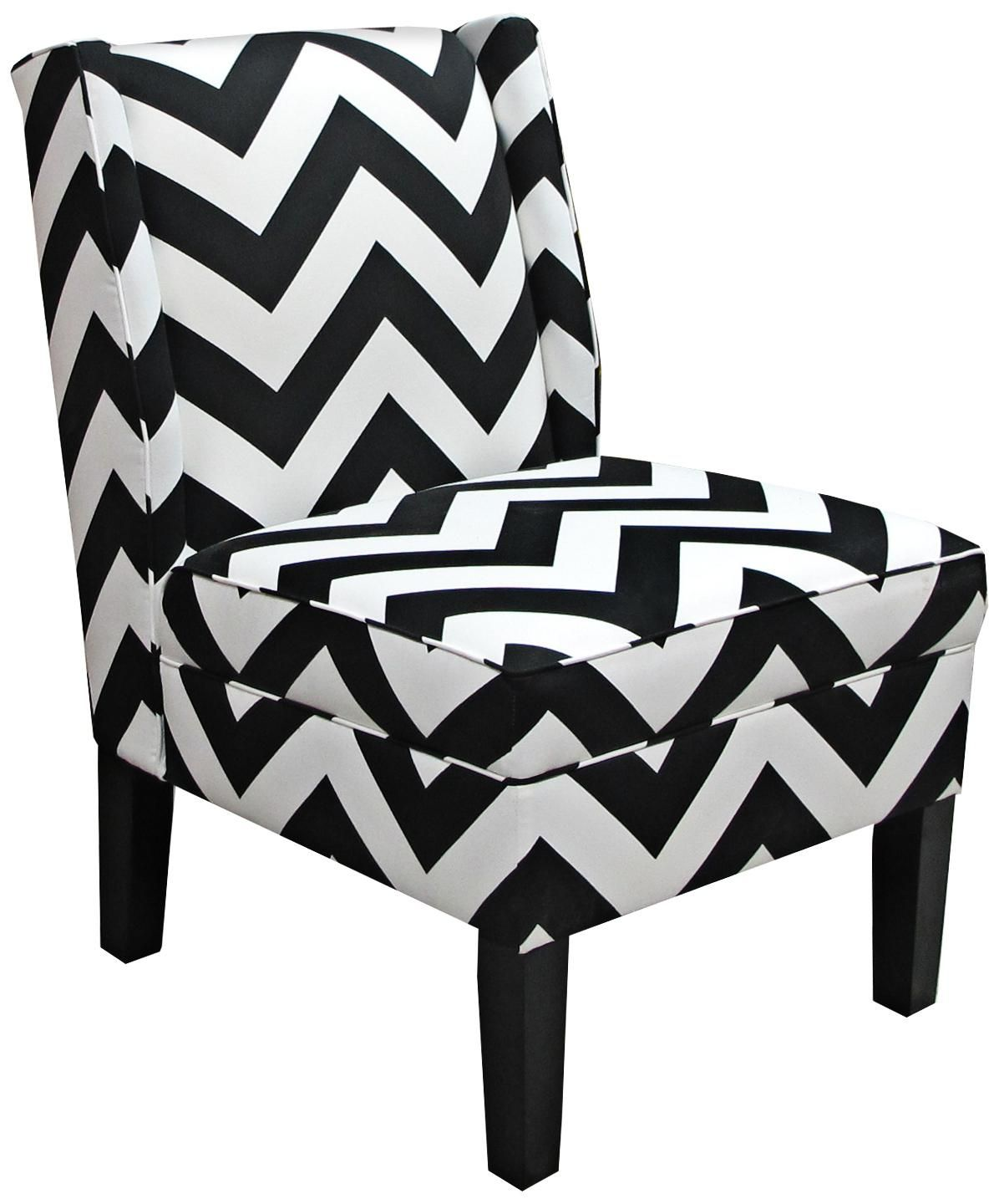 Chevron Black And White Zig Zag Wingback Accent Chair Chevron