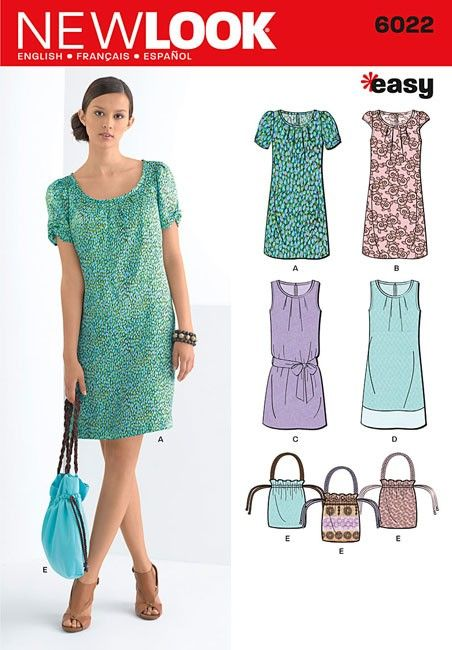 Misses Dresses and Bag New Look Sewing Pattern No. 6022. Size 6-16 ...