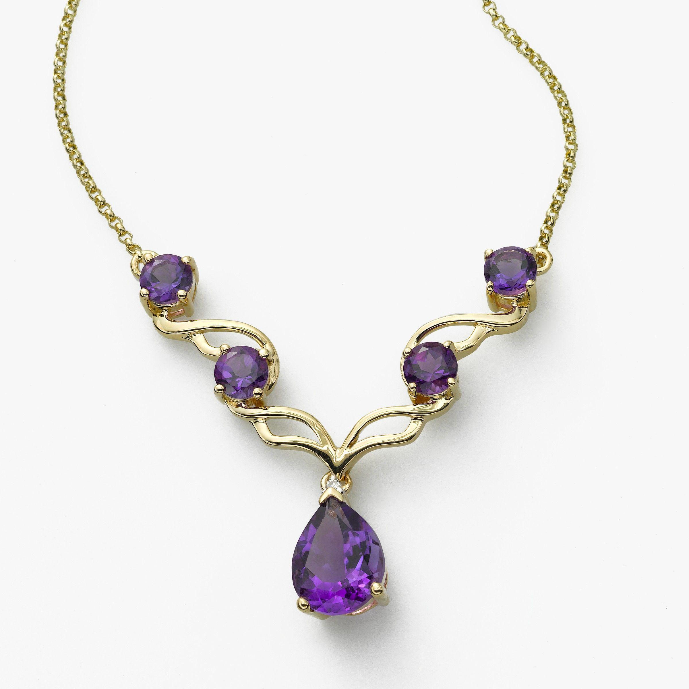 Amethyst and Diamond Necklace, 14K Yellow Gold