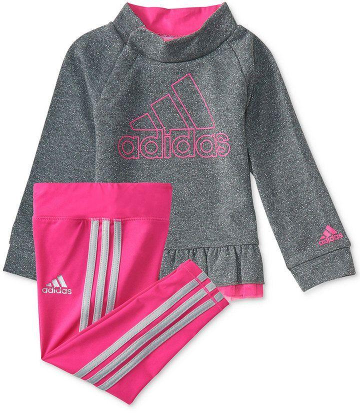 e99db2b72 adidas 2-Pc. Heathered Pullover Sweatshirt & Pants Set, Toddler Girls  (2T-5T)