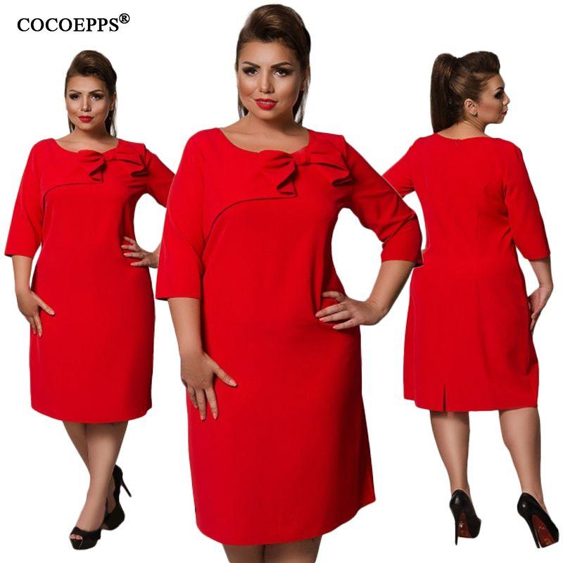 13d4d9e066 Women Bow Three Quarter Sleeve O-Neck Plus Size Knee-Length Dress ...