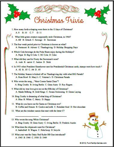 Christmas Trivia Allows Our Memories To Go Back To Our Childhood