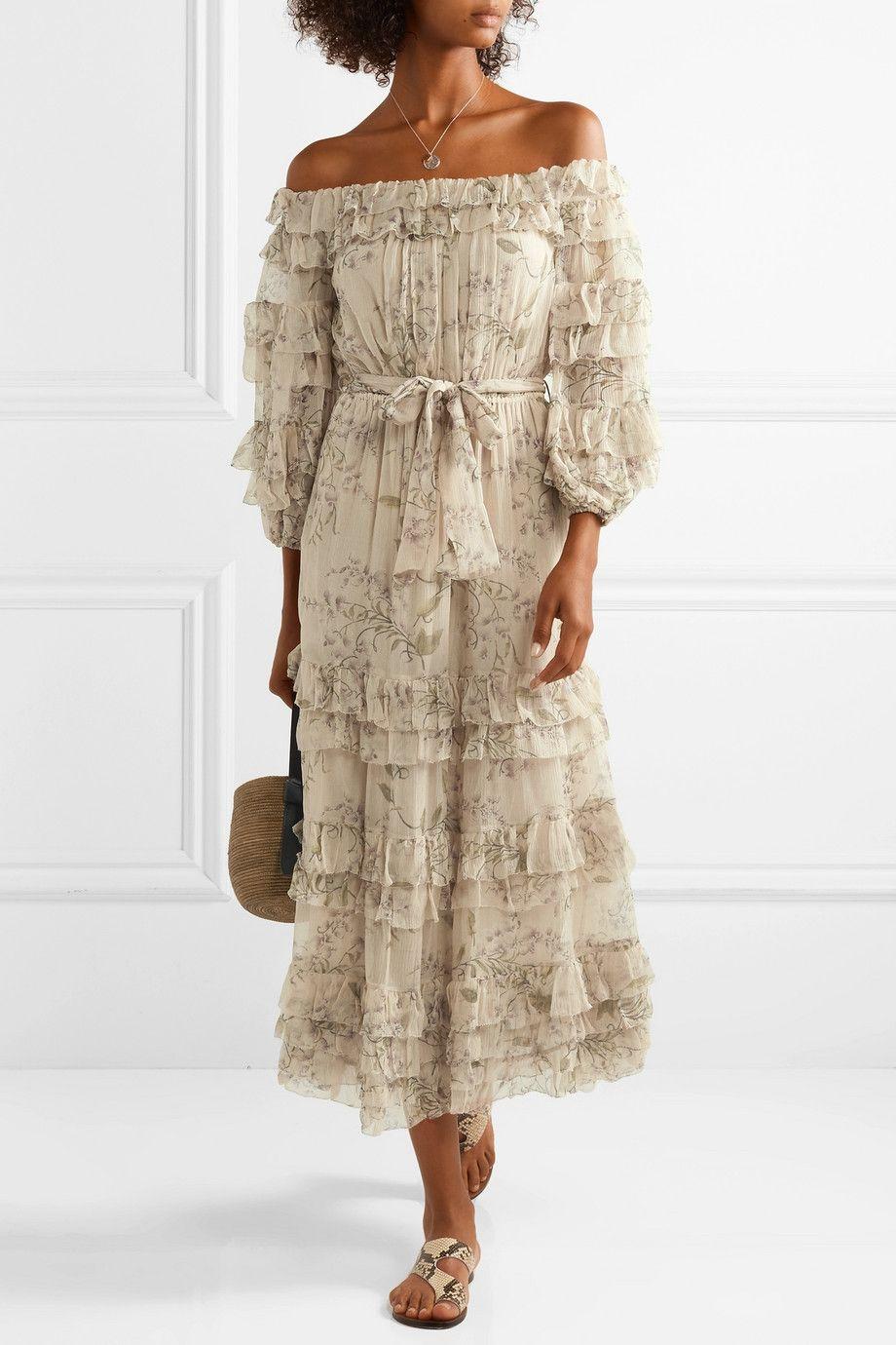 c107f1be88e617 Zimmermann | Unbridled off-the-shoulder printed silk-chiffon midi dress |  NET-A-PORTER.COM