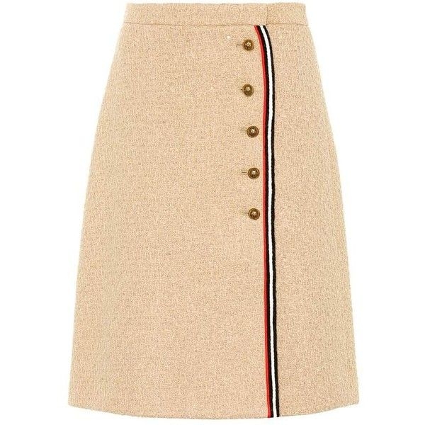 683da9d350 Gucci Wool-Blend Tweed Skirt ($1,060) ❤ liked on Polyvore featuring ...