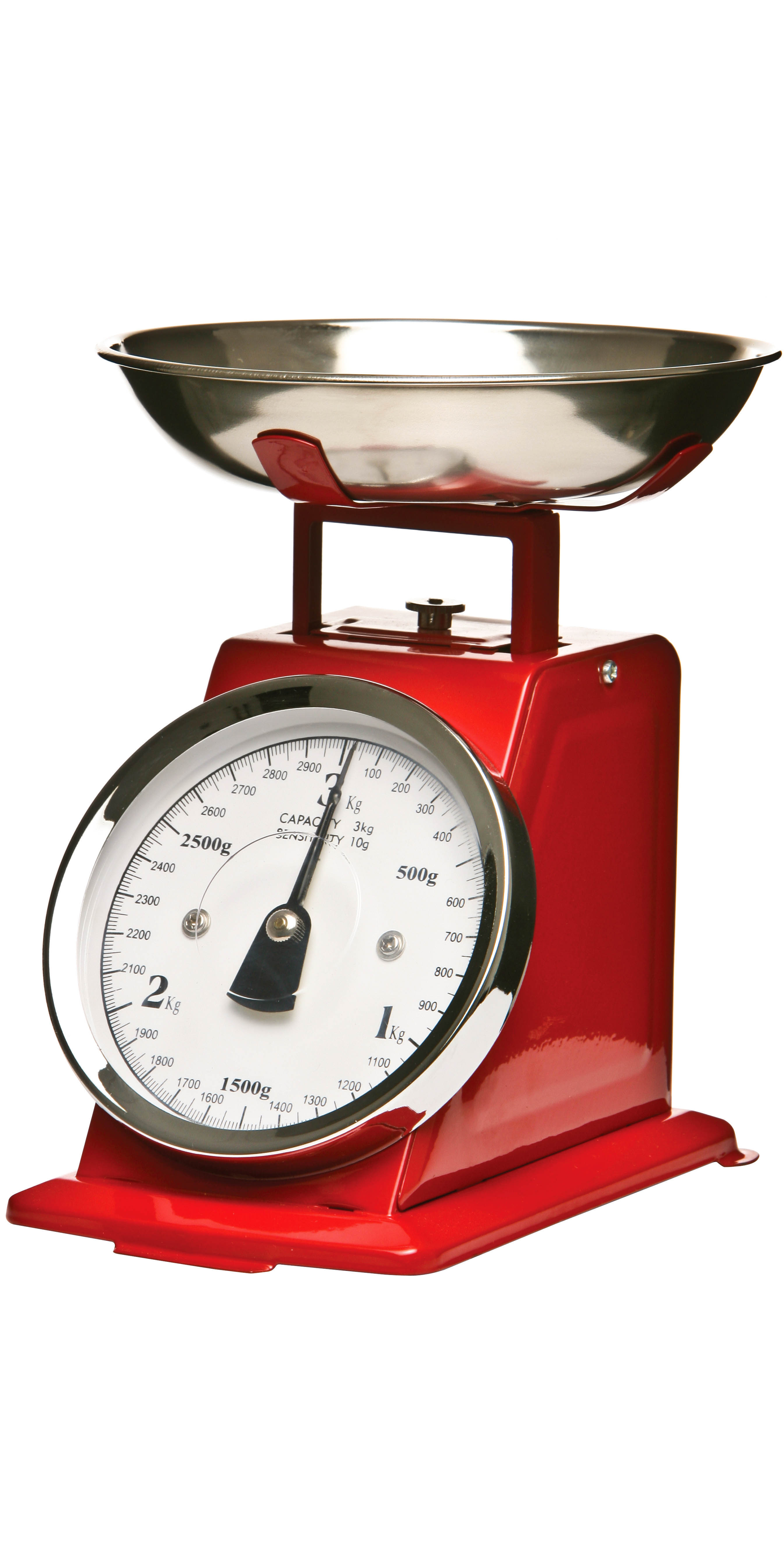 Retro-style kitchen scale from stainless steel