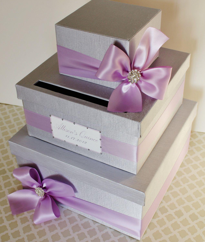Custom Made WEDDING CARD BOX Money Holder Lavender Purple