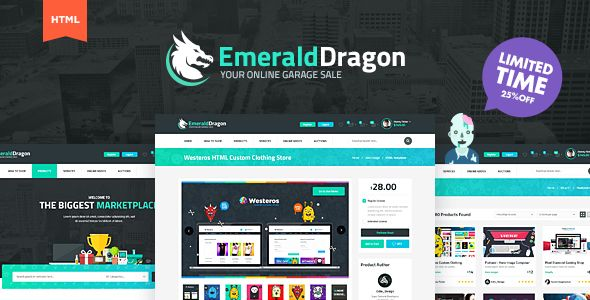 Emerald Dragon Online Marketplace Html Multipurpose Template Https Themekeeper