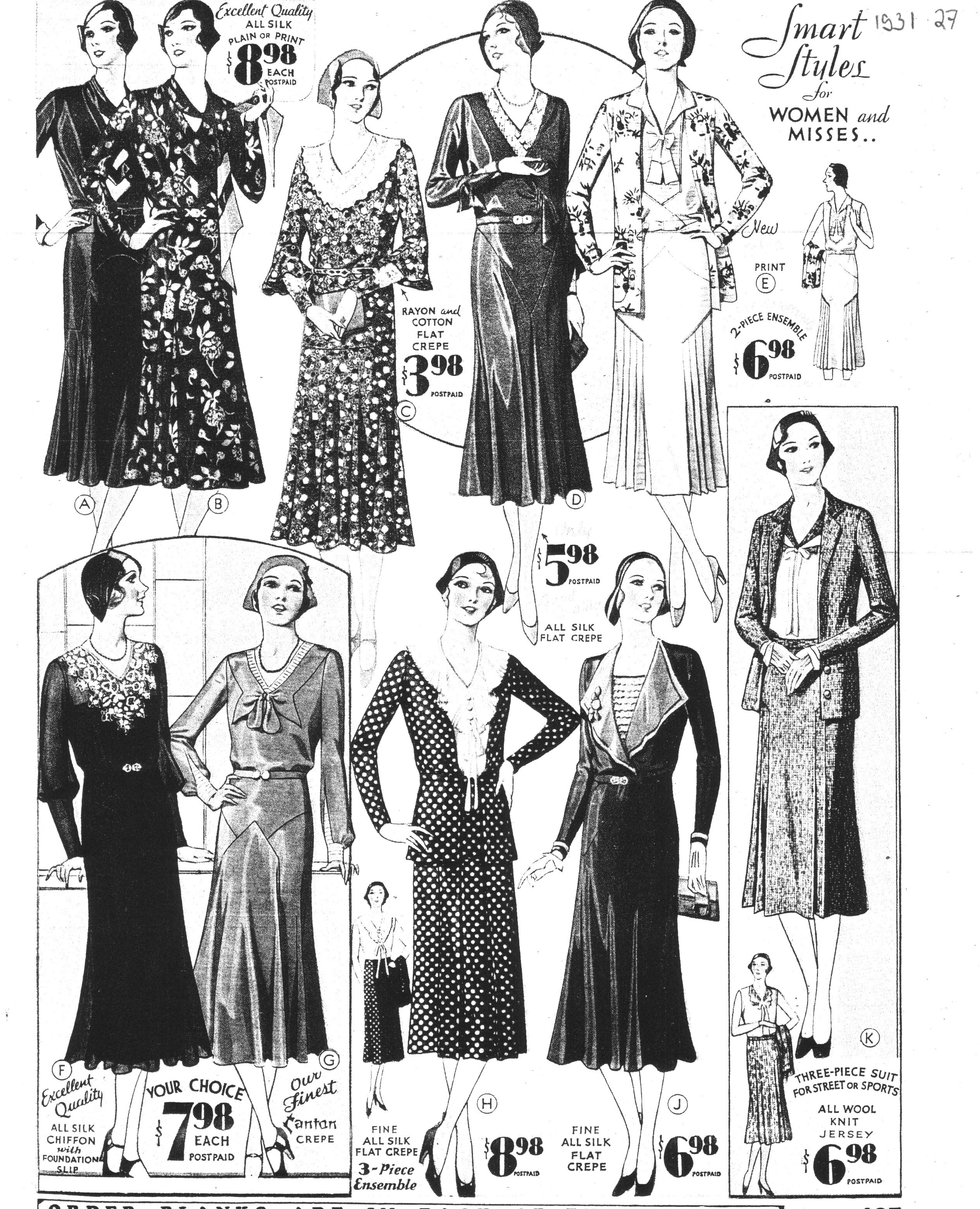catalogue sears ann es 1930 v tements vetement annee. Black Bedroom Furniture Sets. Home Design Ideas
