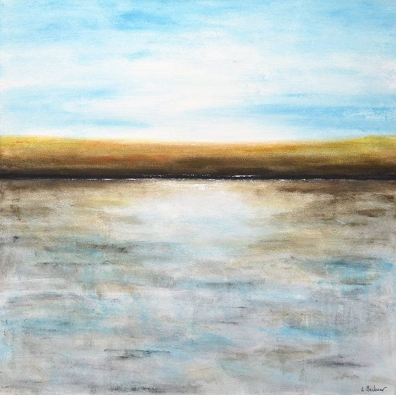 Original Abstract landscape painting 36x36 square by RawArtGallery ...