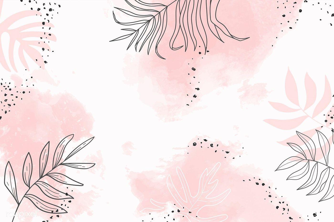 Pink Leafy Watercolor Background Vector Premium Image By Rawpixel Com Aum Cute Desktop Wallpaper Pink Wallpaper Laptop Desktop Wallpaper Art