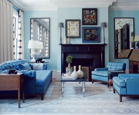 sala color azul Espacios Pinterest Turquesa, Salón y Azul