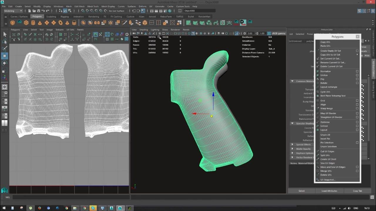 Maya] Create Uv map for Hi poly model and export into Substance