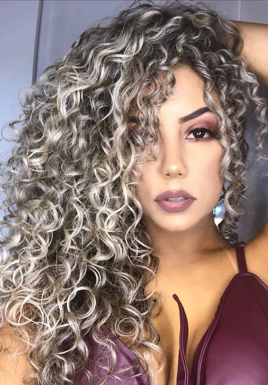 Long Spirals Grey Curly Hair Styles Frosted Hair Colored Curly