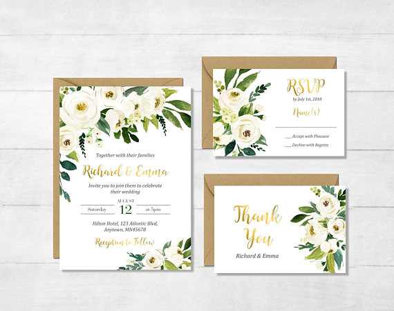 17057ed00fad White Gold Green Floral Printable Wedding Invitation Suite