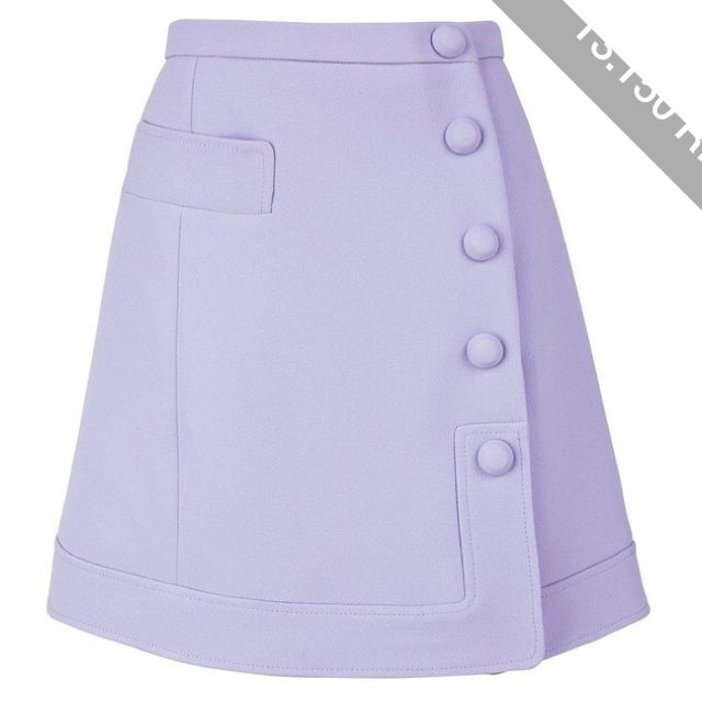 Carven Buttoned Crepe Wrap Skirt