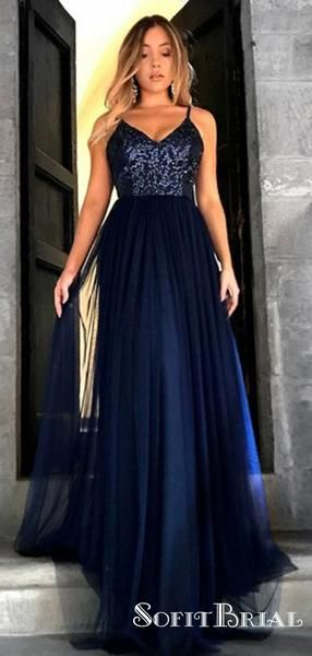 A-Line Spaghetti Straps Long Navy Blue Tulle Prom Dresses with Sequins, TYP0040 A-Line Spaghetti Straps Long Navy Blue Tulle Prom Dresses with Sequins, TYP0040