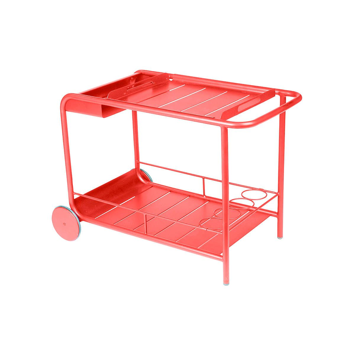 Pep Up Your Patio With This Wheeled Bar Cart In Lustrous Vermilion Equipped With A Removable Tray And Built In Wine Rack This Mob Bar Trolley Fermob Bar Cart