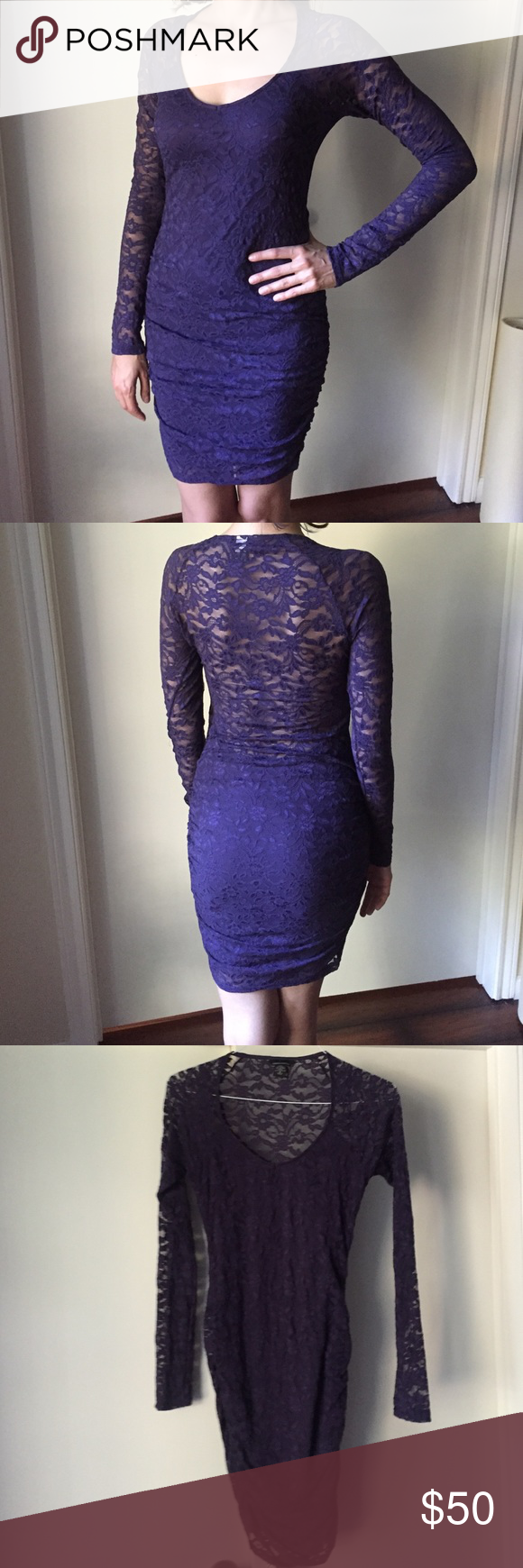 """✨Sale✨Victoria's Secret purple bodycon lace dress Like New dark purple lace lined, long sleeve dress. Ruched on the sides. Fabric is elastic and soft. Bought from Victoria's Secret website. Worn only once. Size S. Model on picture is 5' 10"""". Dresses"""