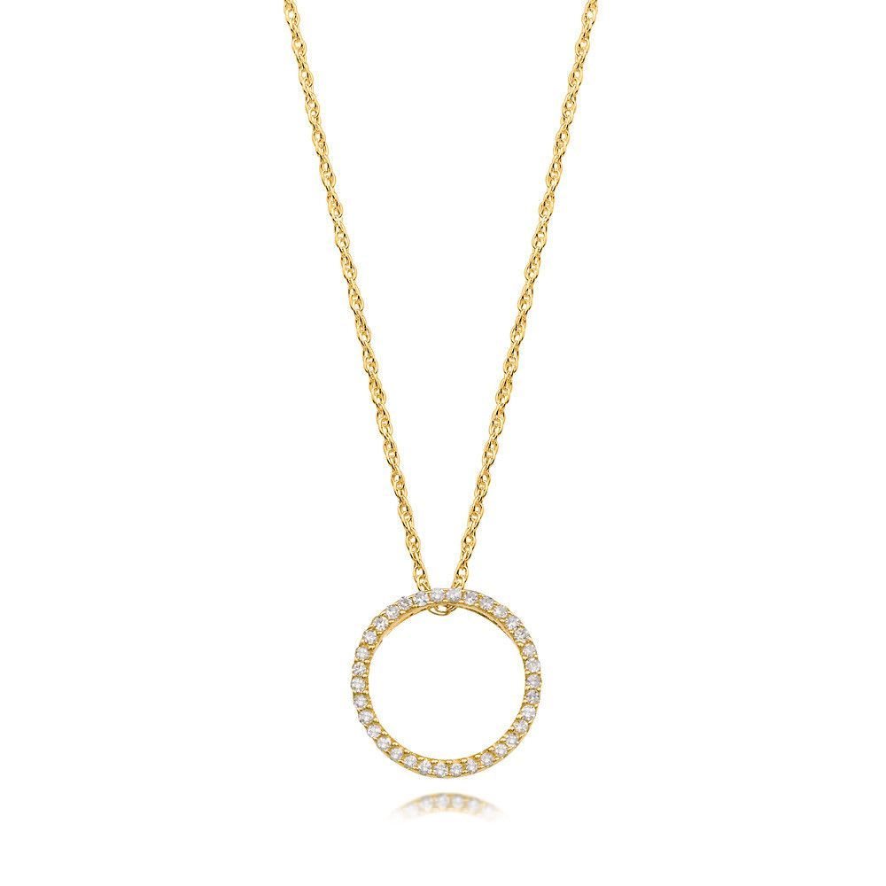 Bling Diamond Open Circle Round Pendant Necklace In White Or Yellow Gold Diamond Circle Necklace Open Circle Necklace Round Pendant Necklace