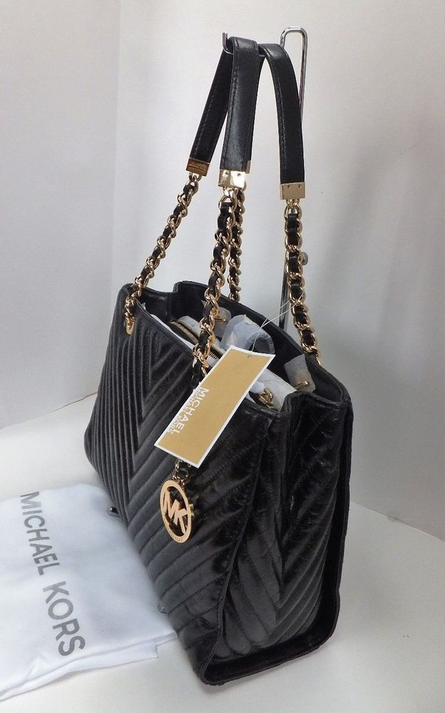 b112fd50f7b6 NWT MICHAEL Michael Kors Susannah Medium Quilted Chevron Tote Bag, Black # MichaelKors #TotesShoppers