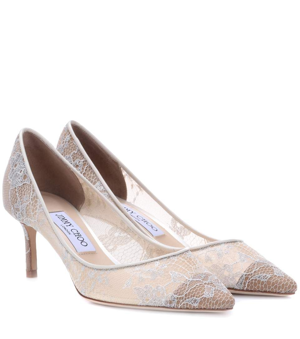 Jimmy Choo Romy 60 Lace Pumps In White