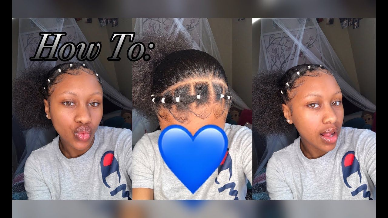 Cute Rubber Band Design Ponytail Edges Rubber Band Hairstyles Natural Hair Styles Black Girl Natural Hair