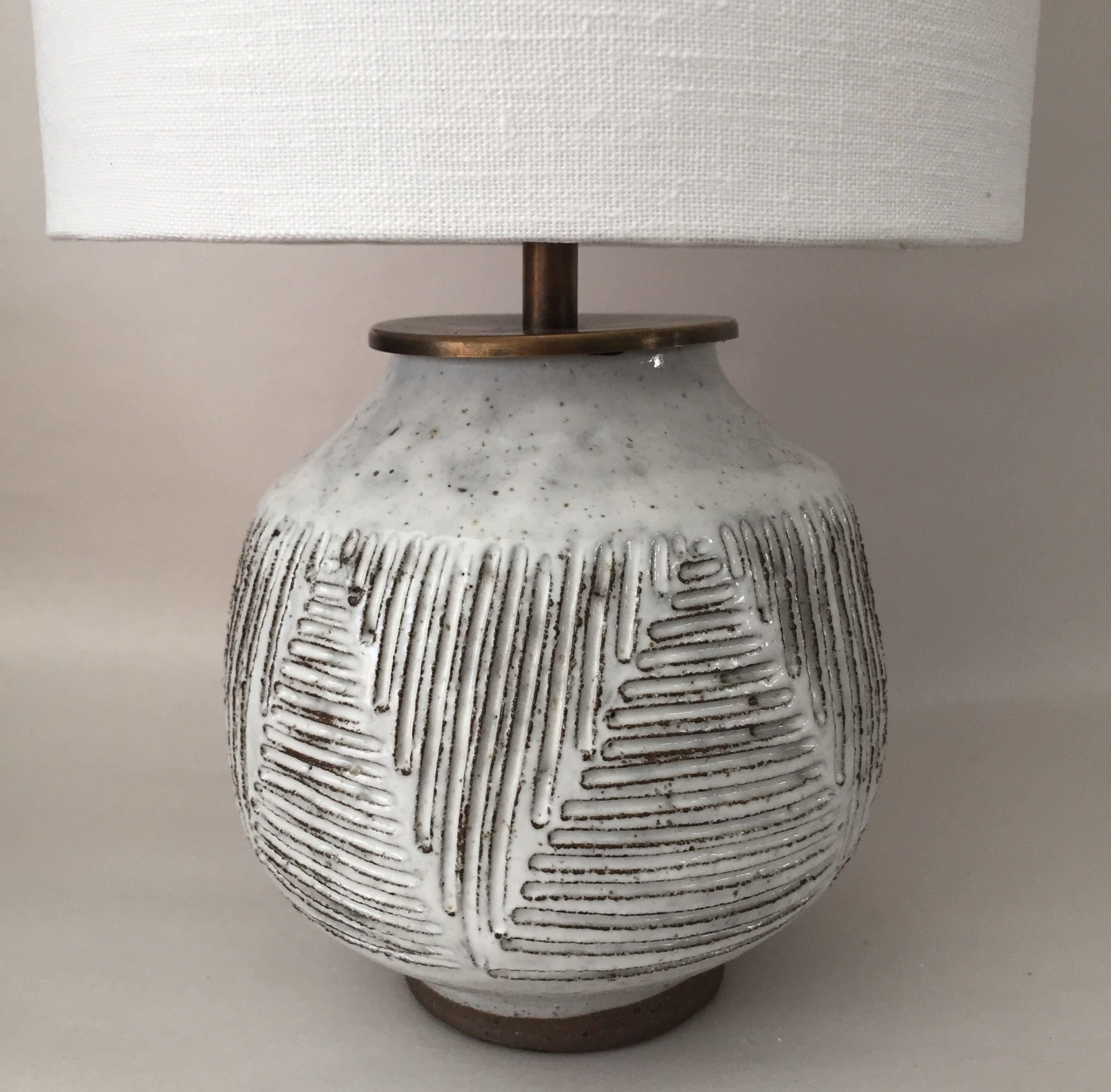 Mt Washington Pottery ceramic lamp with linen shade. | Beautiful and ... for Clay Lamp Design  49jwn