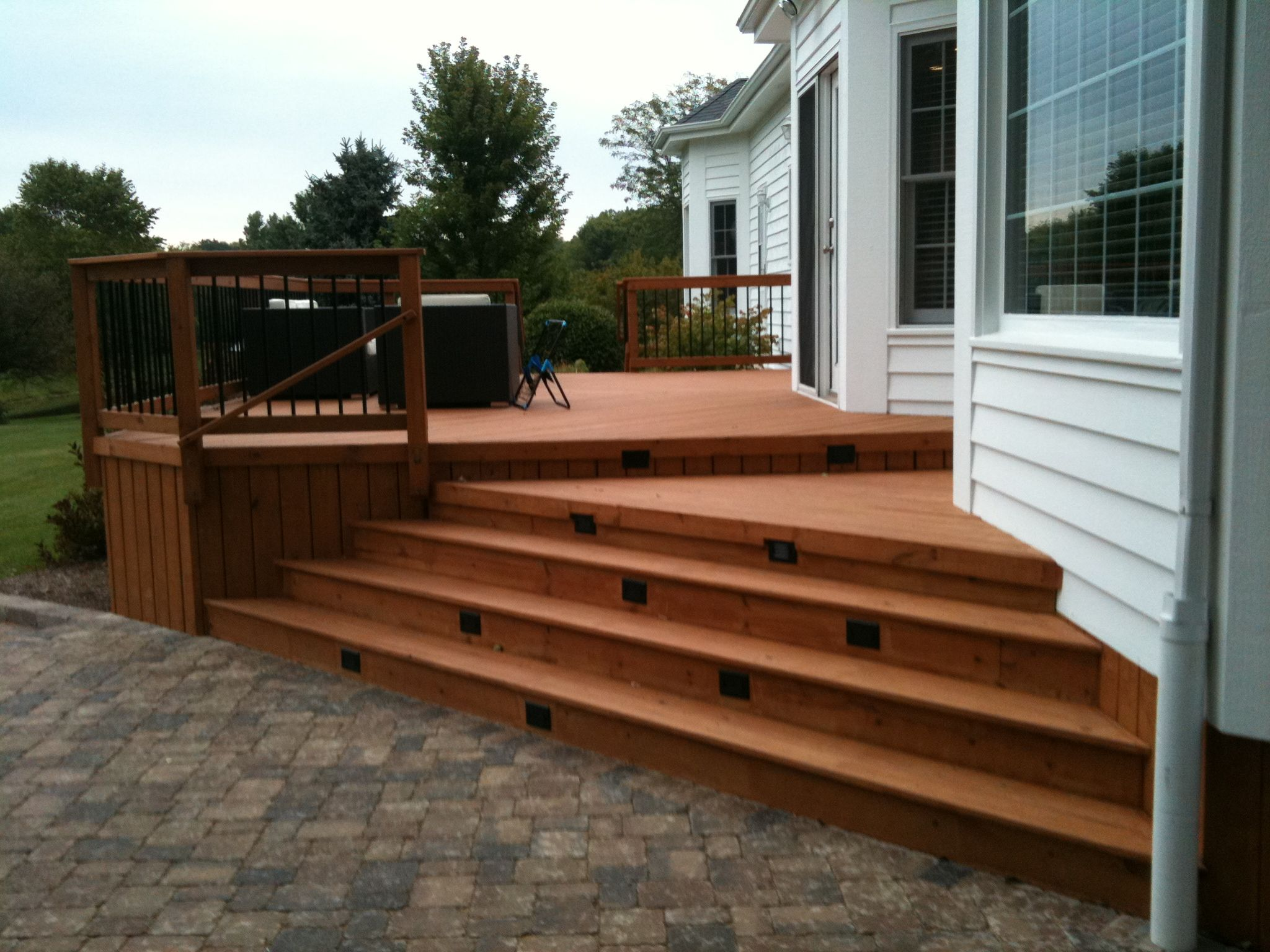 Multi Level Deck With Stair Lighting By St. Charles, IL Deck Builder