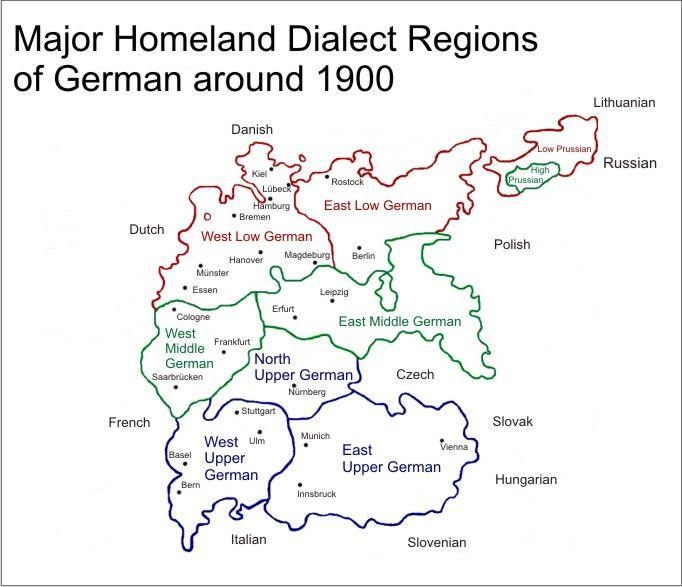 major homeland dialect regions of german around 1900