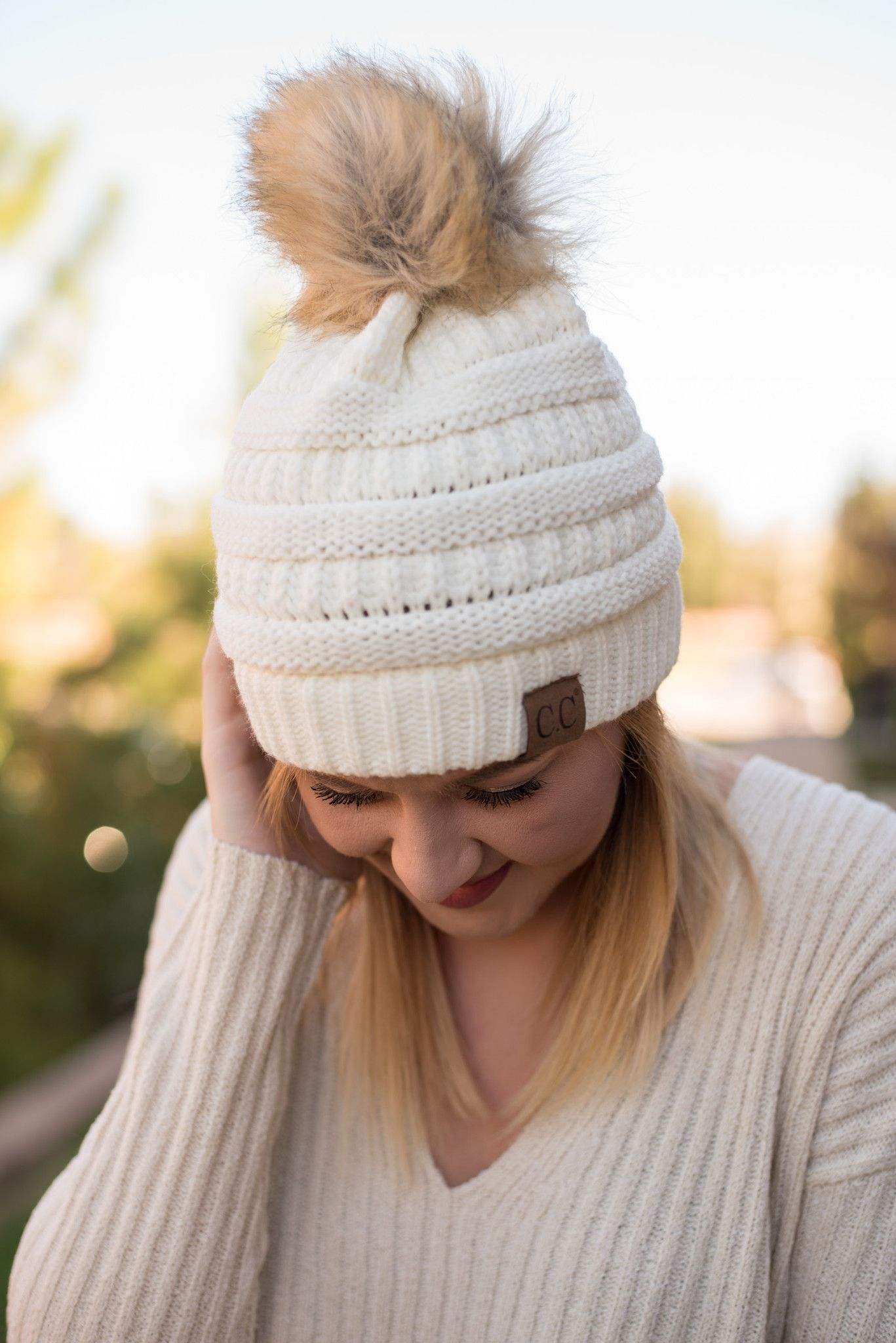 fd2abe1bf66 CC solid beanie with fur pom ivory from Lush Fashion Lounge