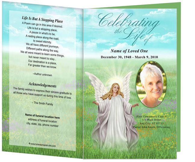 Funeral Order of Service Programs Obituary Templates Madonna angel