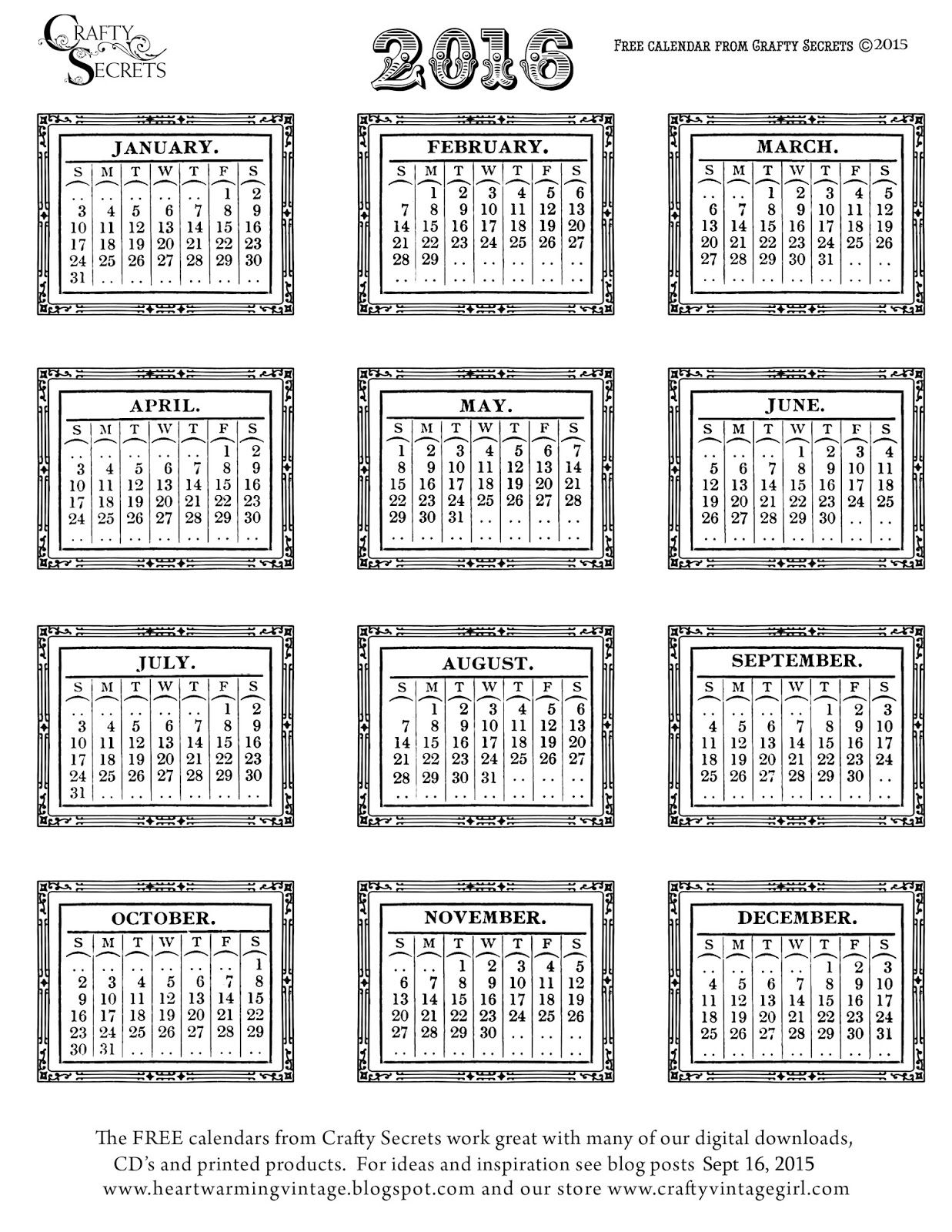FREE printable 2016 calendars Crafty Secrets Heartwarming