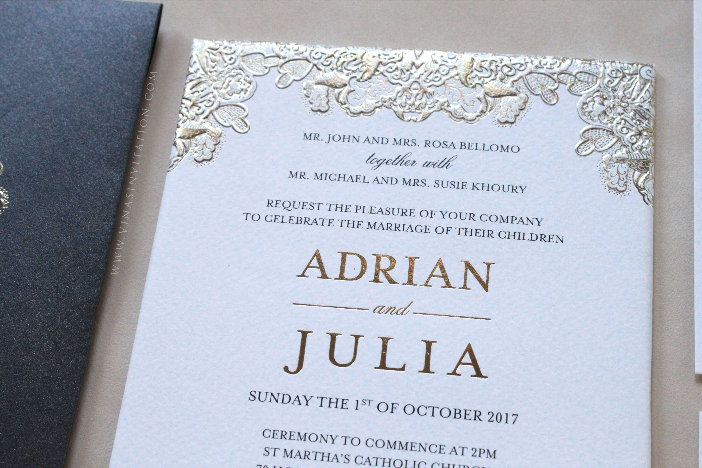 Vinas Invitation Custom Invitation Indonesian Wedding Wedding Invitation Gold Foil Classic Invitation Gold Emboss Wedding Card Any Question Pl Pernikahan