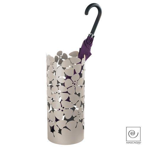 """#design #paraplubak """"Garden: met #metalen #bloemen verkrijgbaar in taupe en wit"""