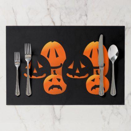 Halloween Jack-O-Lanterns Pumpkin Party Placemat - Halloween happyhalloween festival party holiday