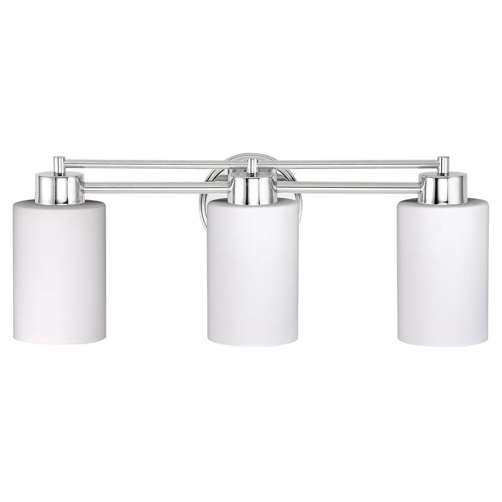 Modern Bathroom Light with White Glass in Chrome Finish | Chrome ...