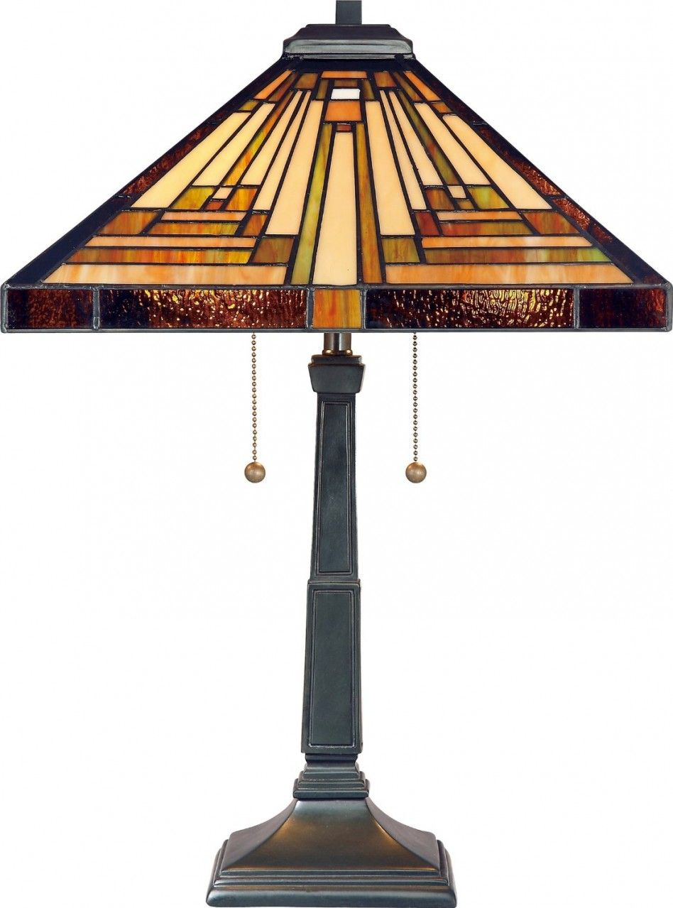 Brown Stained Glass Tiffany Lamp Shade And Square Black Mission Desk Lamp  For Living Room Decoration