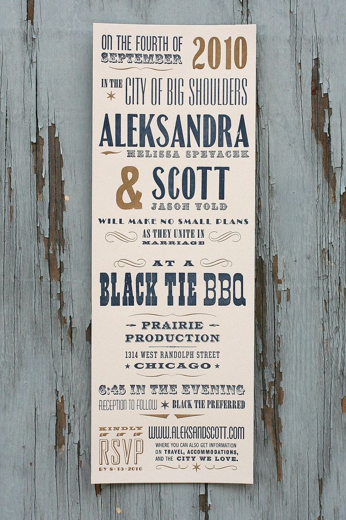 Aleksandra Scotts Antique Wood Type Poster Wedding Invitations