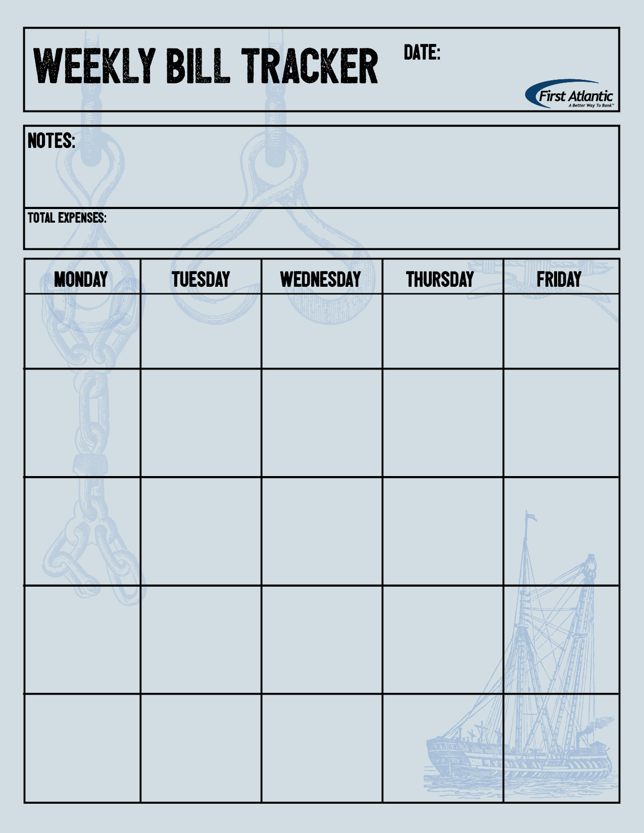 Nautical weekly bill tracker | Finance Tips and Printables | Pinterest