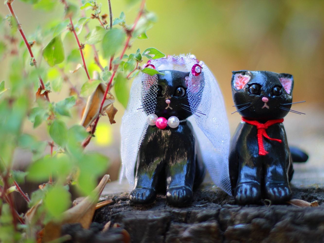 Cat Cake Topper Wedding Cake Topper Polymer Clay Cat Cake Topper