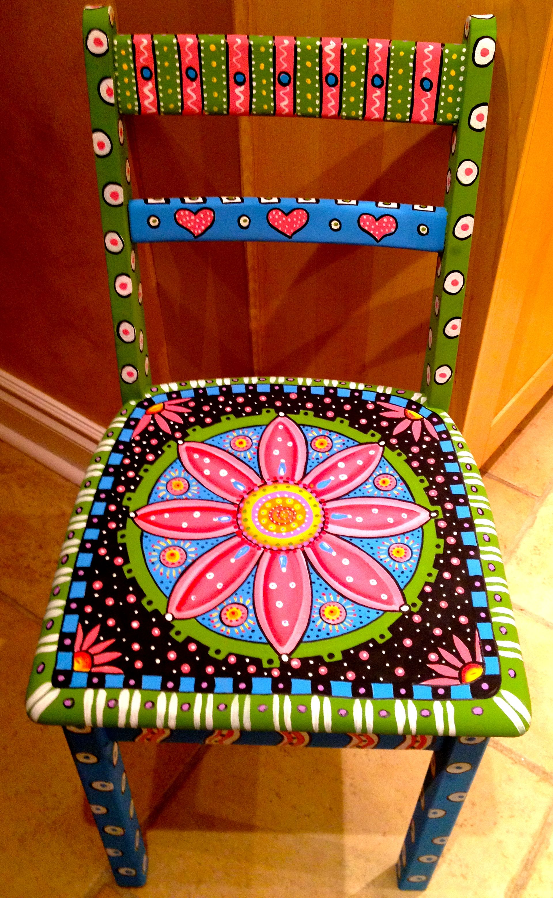 Handpainted chair by alice hinther furniture pinterest m bel st hle - Bunte vintage mobel ...