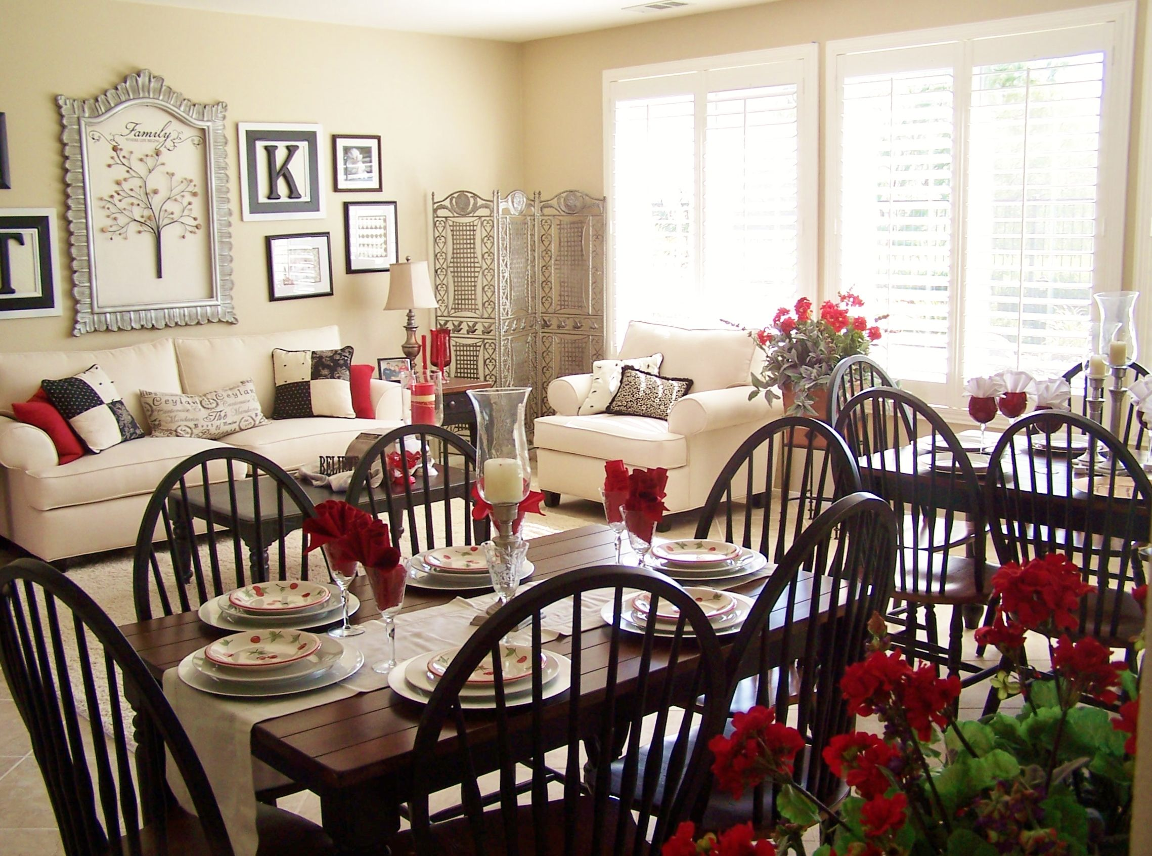 Living dining combo house of oz red black white - Dining room and living room combined ...