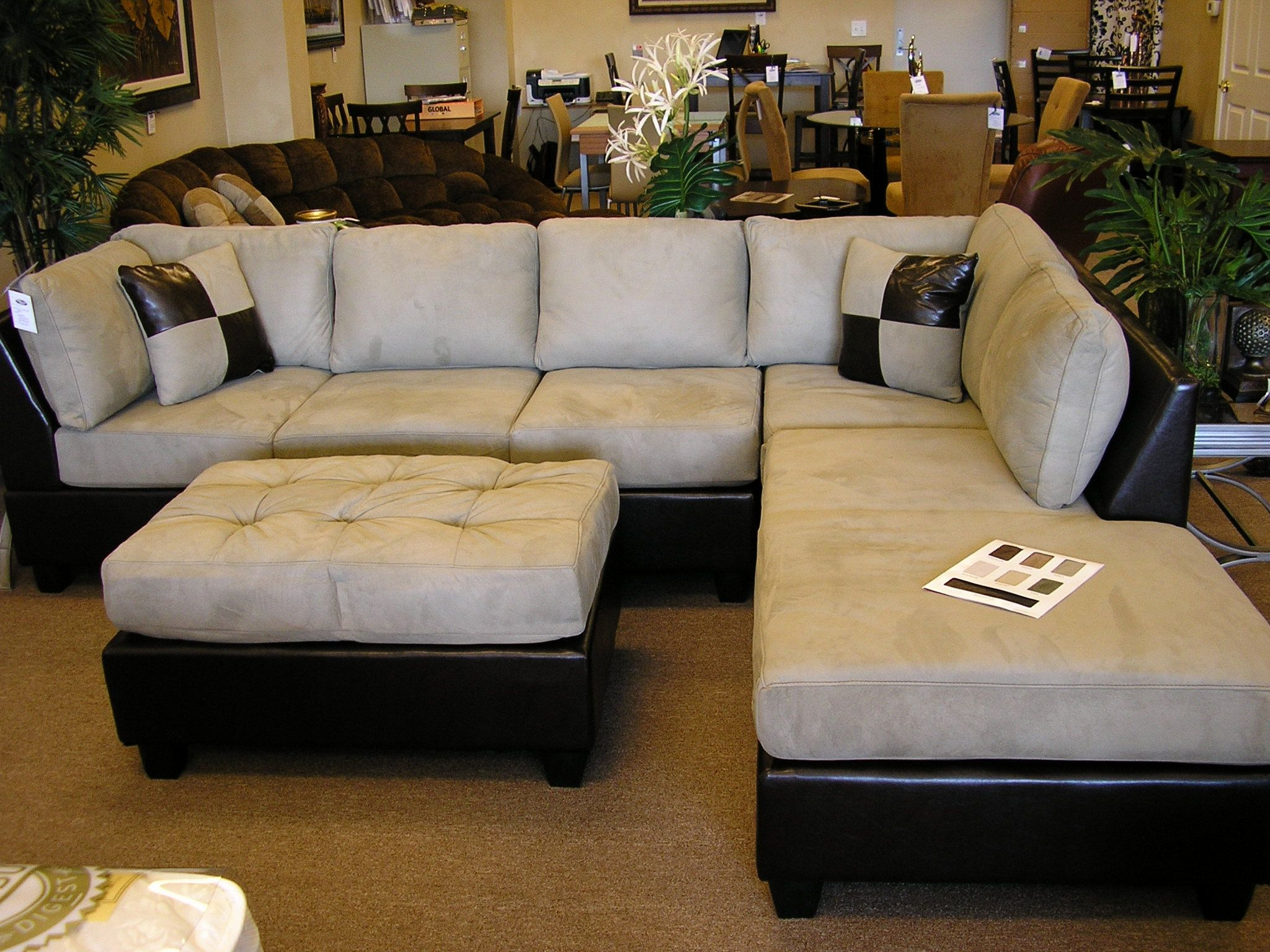 Luxury Microfiber Chaise Sofa Perfect Sectional With 53 In Design